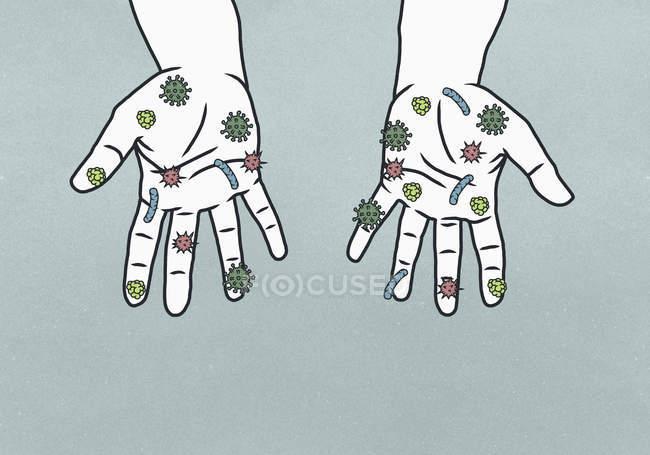 Detalhe das mãos cobertas de bactérias — Fotografia de Stock
