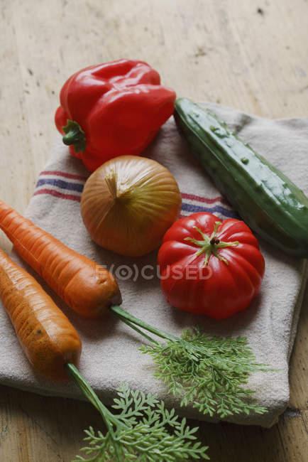 Plastic vegetables on towel — Stock Photo