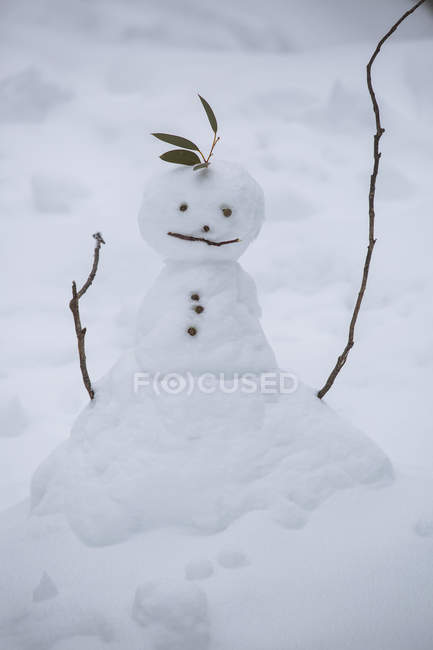 Cute snowman over snow at winter time — Stock Photo