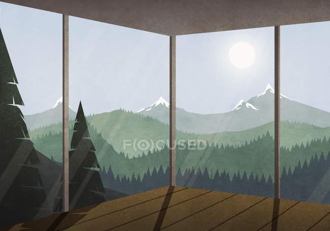 Перегляд сонце світить через ідилічним пейзажем гори і ліси від скляний будинок — стокове фото