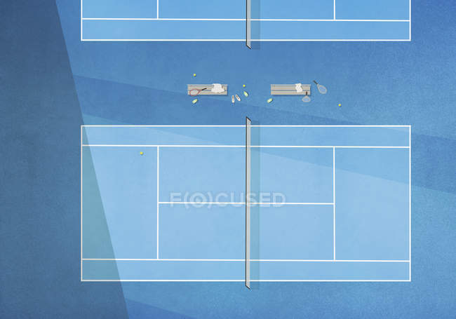 Ve desde arriba de tenis azul - foto de stock