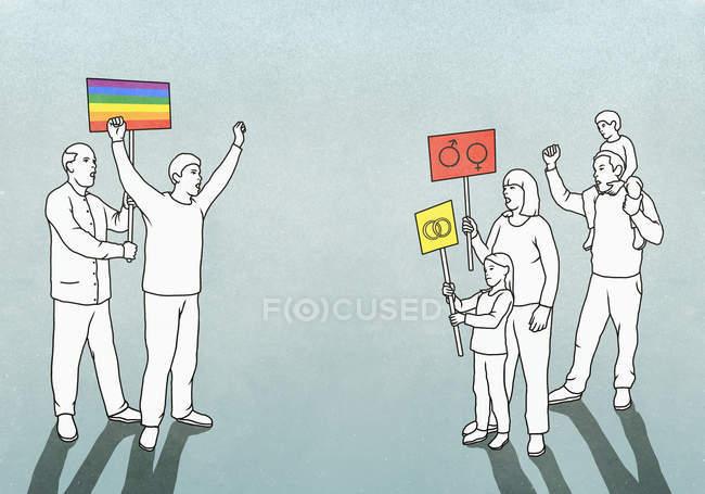 Participantes del evento del orgullo LGBTQI enfrentados con familiares opuestos - foto de stock
