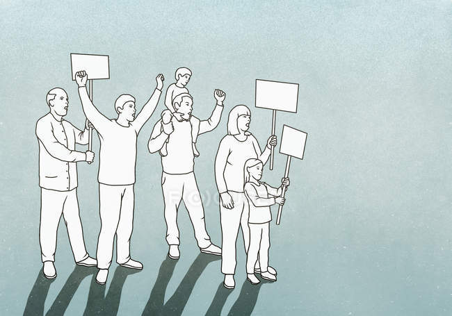 Manifestantes com sinais em fundo verde — Fotografia de Stock
