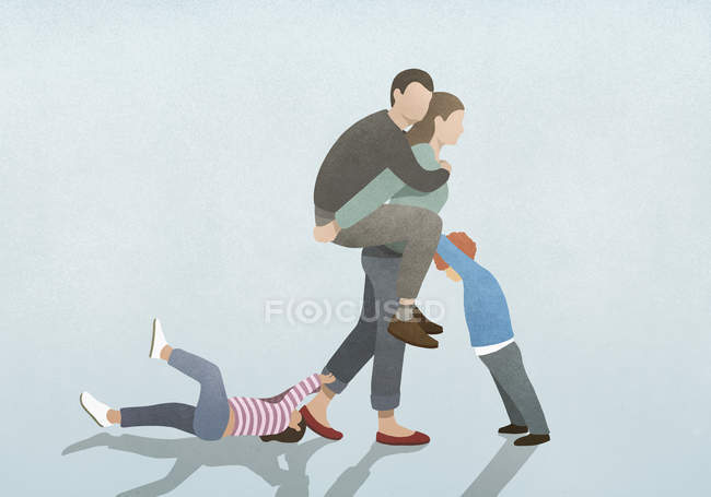 Woman burdened by husband on back and children pulling and pushing — Stock Photo