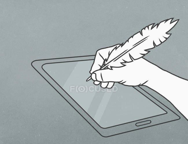 Рука перо quill пером писати на цифровий планшетний — стокове фото