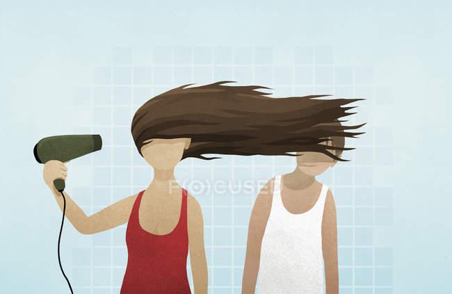 Mujer golpe secado de pelo en mans cara - foto de stock