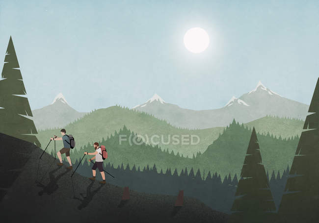 Men hiking along idyllic mountain and forest landscape — Stock Photo