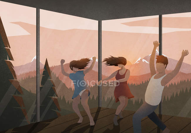 Carefree friends dancing in house with sunset mountain view — Stock Photo