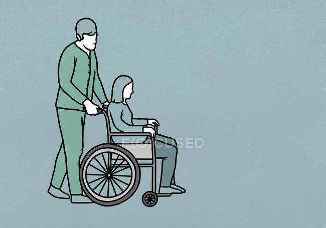 Male nurse pushing woman in wheelchair — Stock Photo