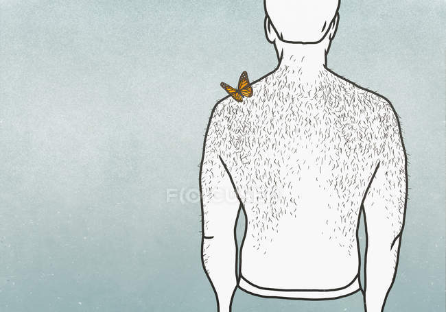 Butterfly on shoulder of man with hairy back — Stock Photo