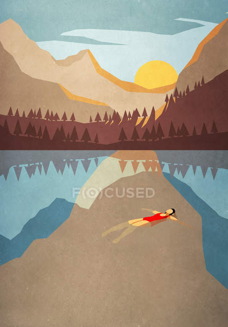 Serene woman floating on back in tranquil mountain lake — Photo de stock