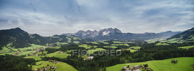 Drone point of view scenic, idyllic rolling green landscape, Kitzbuehel, Tyrol, Austria — Stock Photo