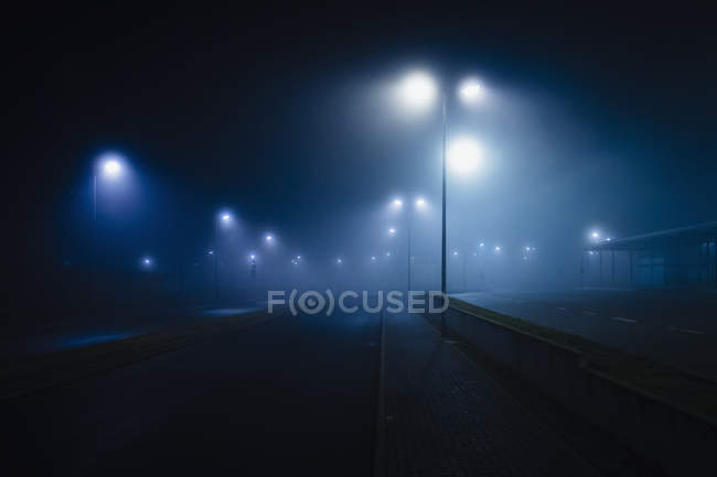 Street lamps illuminated over foggy, vacant road — стокове фото