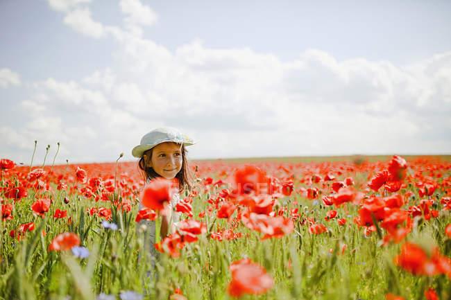 Chica en el campo de amapola roja rural soleado, idílico - foto de stock