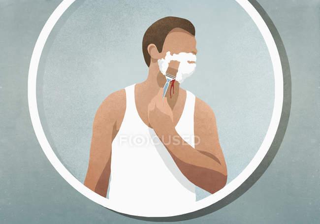 Mann rasiert sich das Gesicht, blutet im Spiegel — Stockfoto