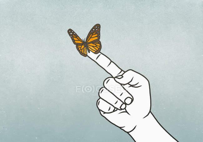 Schmetterling am Finger auf grauem Hintergrund — Stockfoto