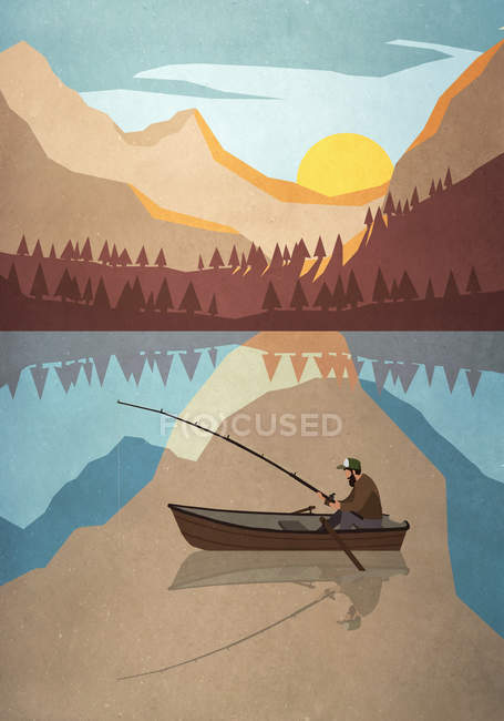Man fishing in boat on tranquil mountain lake — Stock Photo