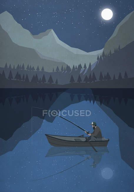 Moonlight shining over man fishing in boat on mountain lake — Stock Photo