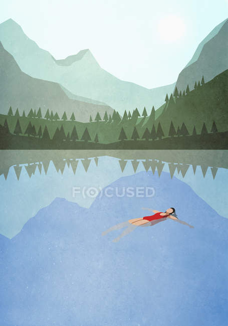 Serene woman floating on back in tranquil mountain lake — Stock Photo