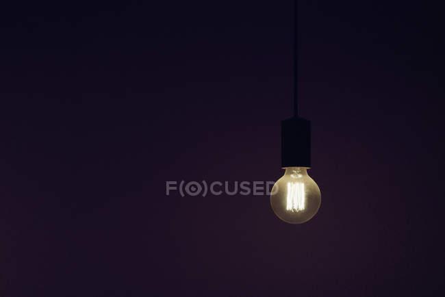 Ampoule électrique de cru illuminée sur le fond noir — Photo de stock