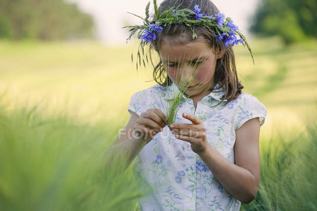 Curious girl with flowers in hair examining green wheat stalk in rural field — Stock Photo
