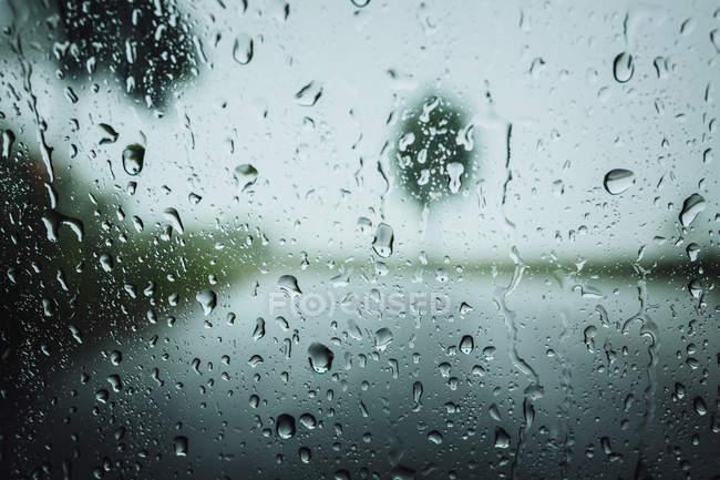 Gotas de lluvia en superficie de ventana - foto de stock