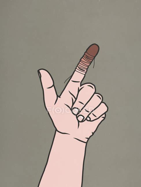 Стринги вокруг пальца отрезают кровь — стоковое фото