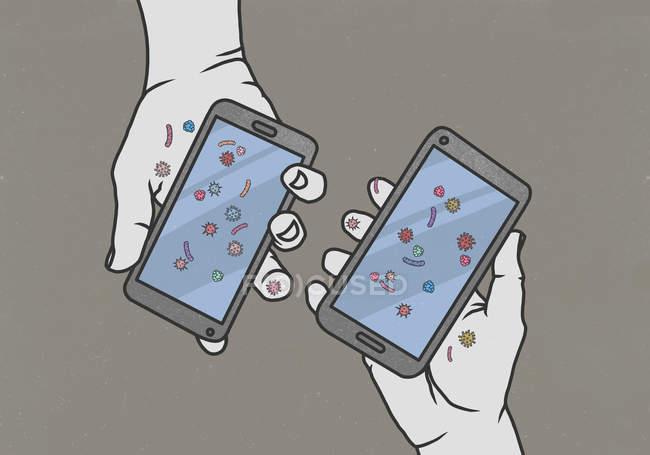Mãos segurando telefones inteligentes cobertos de bactérias — Fotografia de Stock