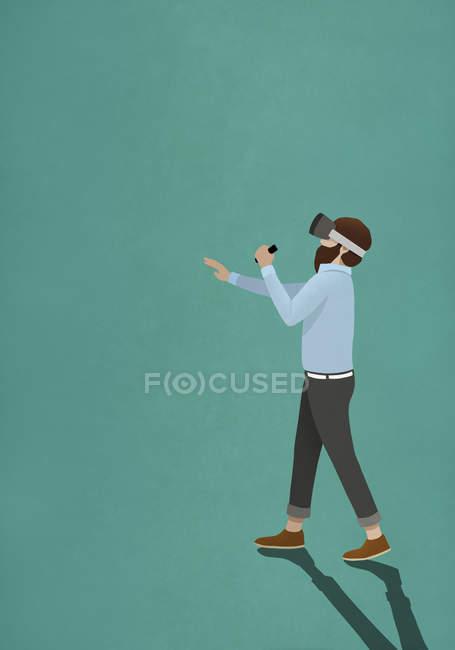 Man wearing virtual reality simulator — Stock Photo