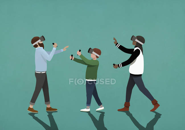 Family using virtual reality simulators — Stock Photo