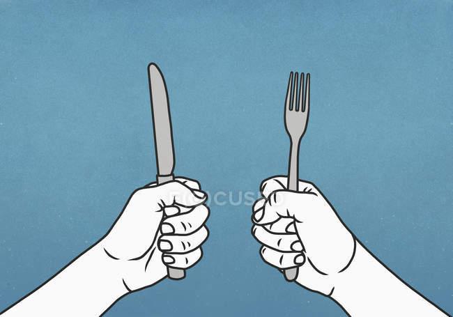 Mani affamate che tengono forchetta e coltello — Foto stock