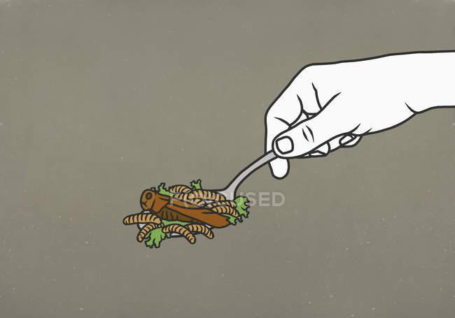 Linces e baratas na colher — Fotografia de Stock