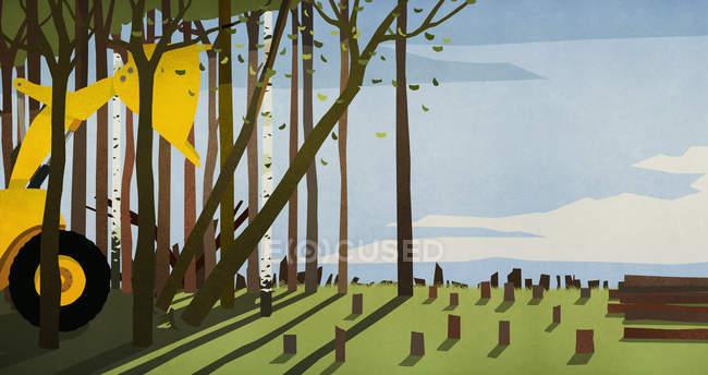 Bulldozer derrubando árvores, desmatamento — Fotografia de Stock