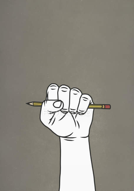 Fist gripping pencil on gray background — Stock Photo