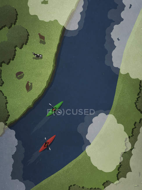 View from above kayakers on idyllic river — Stock Photo