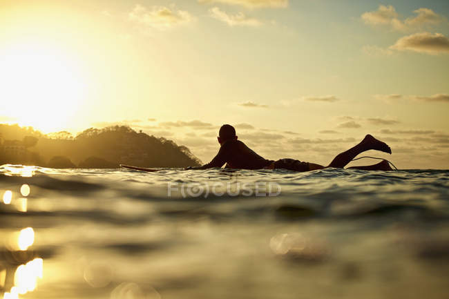 Male surfer laying on surfboard on sunny ocean at sunset, Sayulita, Nayarit, Mexico — Stock Photo