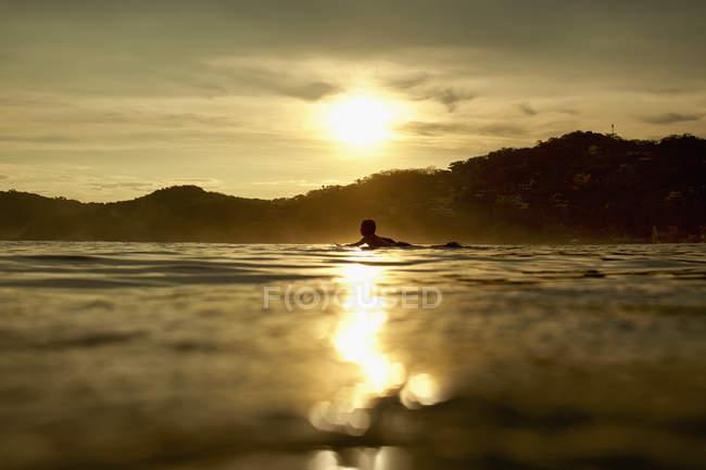 Silhouette jeune homme allongé sur la planche de surf sur l'océan calme coucher de soleil, Sayulita, Nayarit, Mexique — Photo de stock