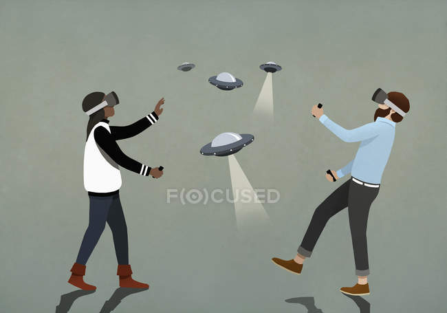 Couple playing UFO video game with virtual reality simulator glasses — Stock Photo