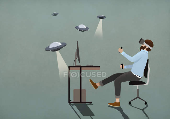 Man playing UFO video game with virtual reality simulator glasses — Stock Photo