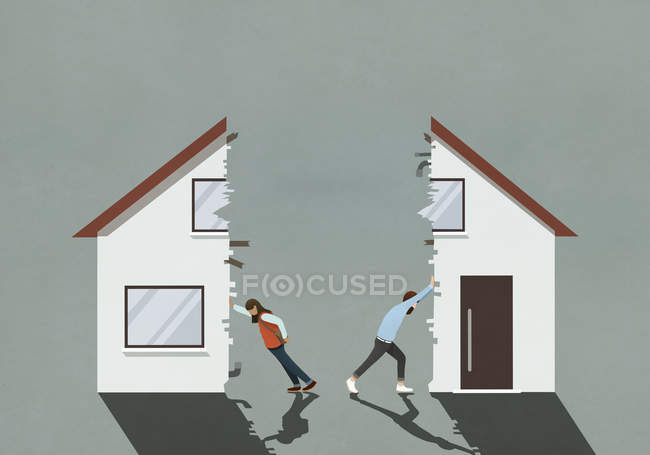 Couple splitting house in divorce — Stock Photo