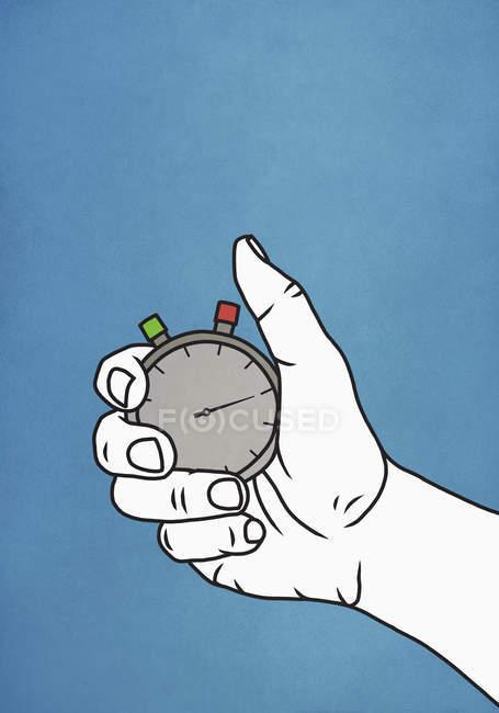 Человек держит секундомер на синем фоне — стоковое фото