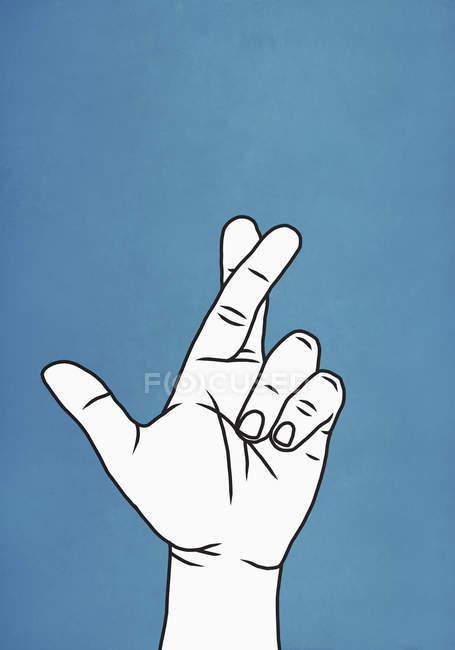 Finger auf blauem Hintergrund gekreuzt — Stockfoto