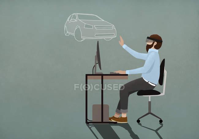 Uomo con occhiali simulatore di realtà virtuale shopping online per auto — Foto stock