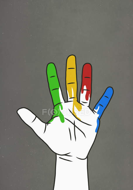 Raised hand dripping rainbow paint — Stock Photo
