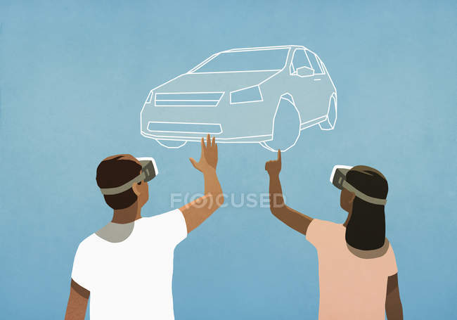 Couple with virtual reality simulator glasses shopping for car — Stock Photo