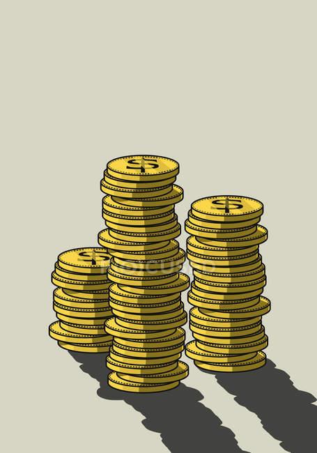 Pilas de nosotros monedas - foto de stock