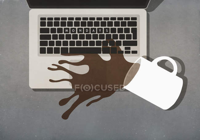 Coffee spilling on laptop with Mondays text on keyboard — Stock Photo