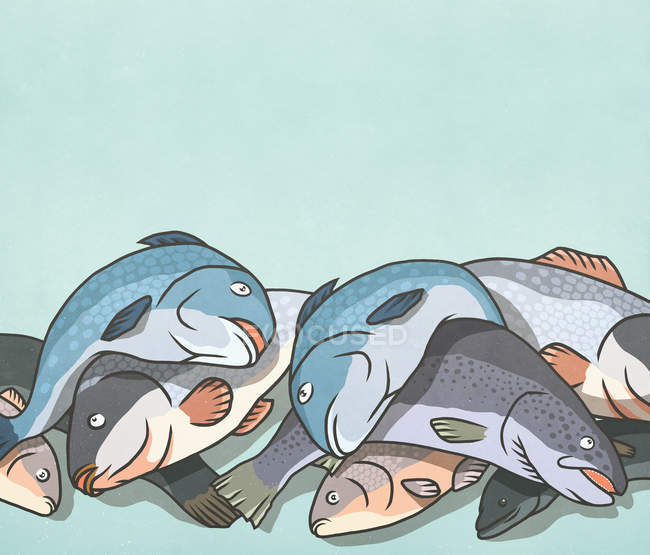 Pesce morto in un mucchio — Foto stock