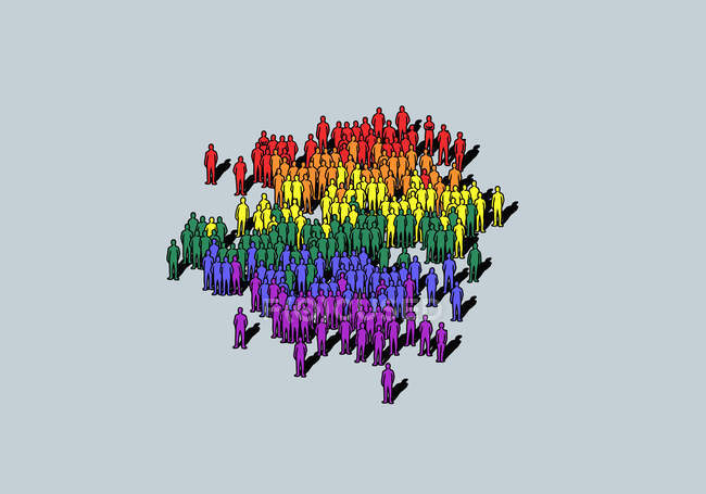 Arco-íris colorido multidão no fundo cinza — Fotografia de Stock