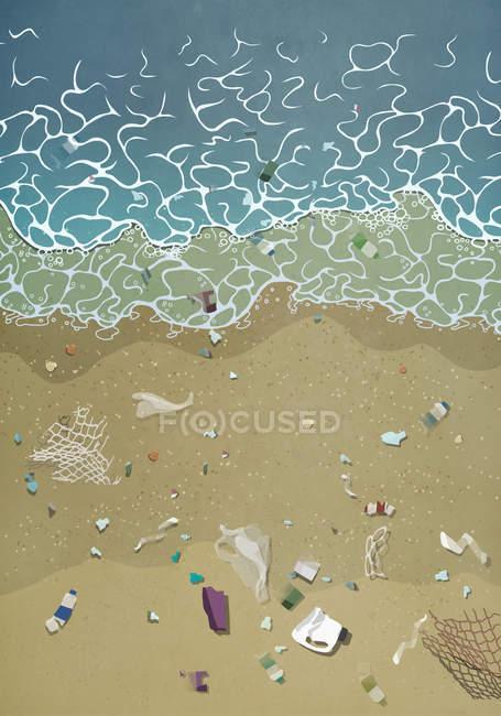Мусор, вымытый на берегу океана — стоковое фото